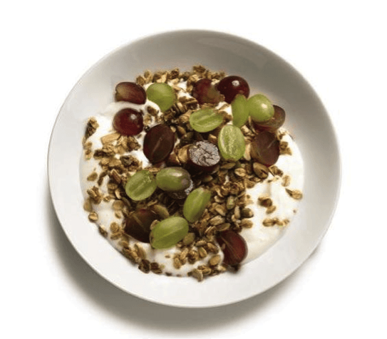 yogurt with granola and grapes